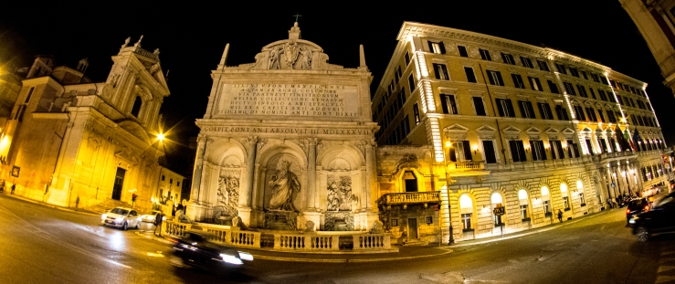 The Moses Fountain, or Fontana dell'Acqua Felice, on the Via Vittorio Emmanuelle Orlando between Cheise Maria della Vitorria and the Hotel St. Regis. Oct. 8, 2015. Nikon D7100. Rokinon 8mm F/3.5 fisheye. RAW. ISO 1600. f/8. 1/13th sec. 8mm (DX 12mm).