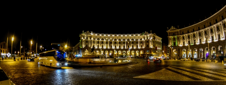 Piazza della Repubblica in Rome. Oct. 8, 2015. Nikon D7100. Rokinon 8mm F/3.5 fisheye. ISO 1600. f/8. 1/13th sec. RAW. 8mm (DX 12mm).